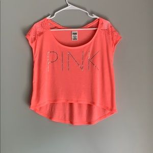 PINK crop top longer back with lace shoulders